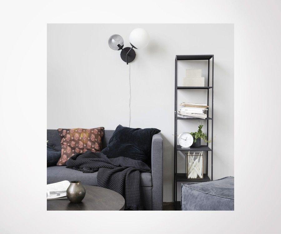 House doctor twice wall light black iron metal and glass retro design