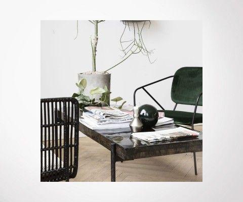 Grande table basse acier bois recyclé CLOSE - House Doctor