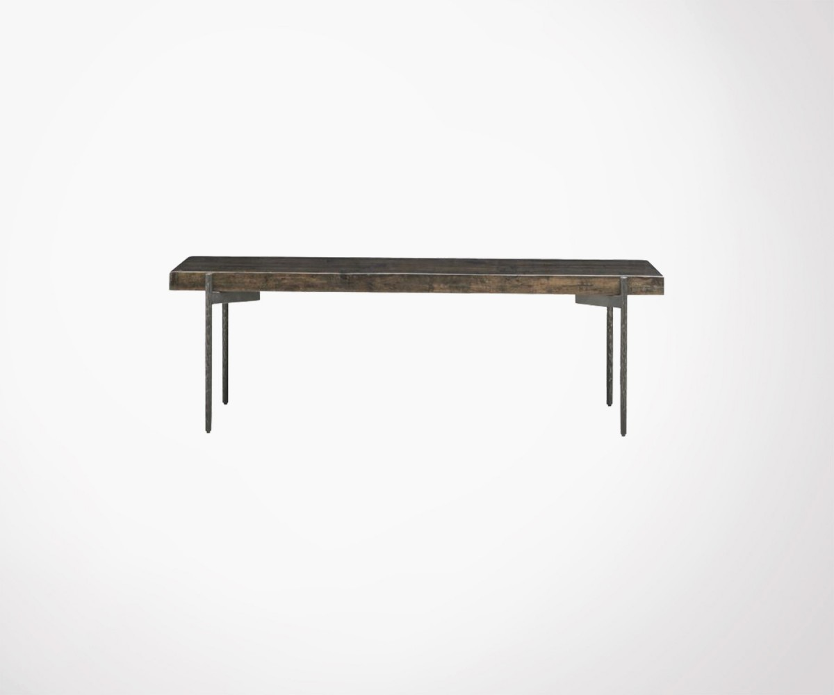 Large rectangulaire coffee table 140cm recycled wood and iron