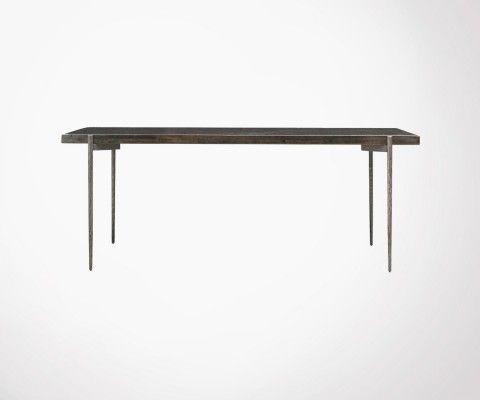 Table à dîner 200cm bois recyclé et acier CLOSE - House Doctor