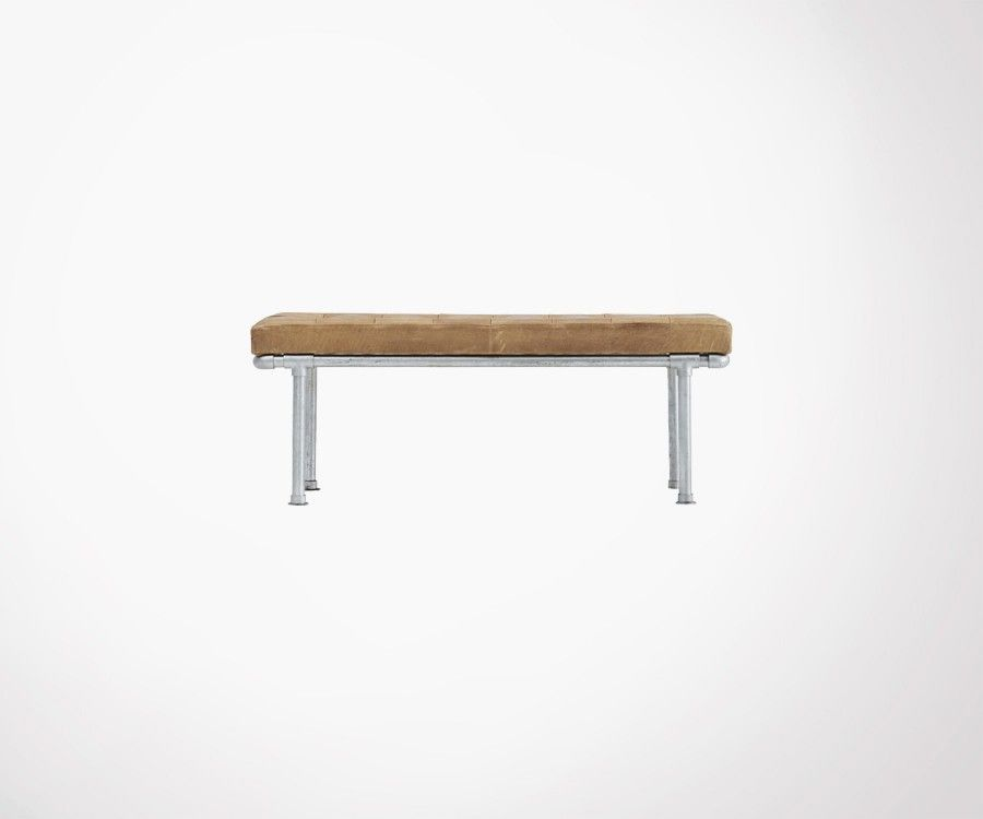 120cm Design House Doctor Bench Made Of Buffalo Leather And Metal