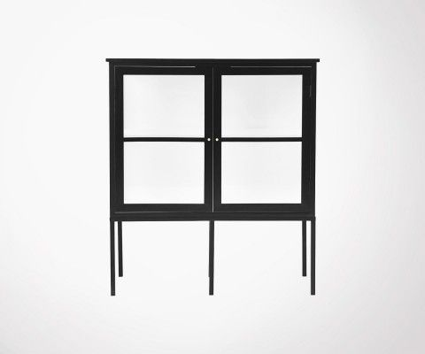 Cabinet design 120cm black wood and glass FOX - House Doctor