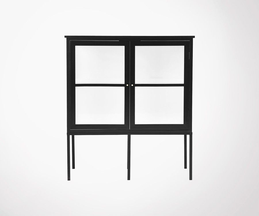 Cabinet design 120cm bois noir et verre FOX - House Doctor