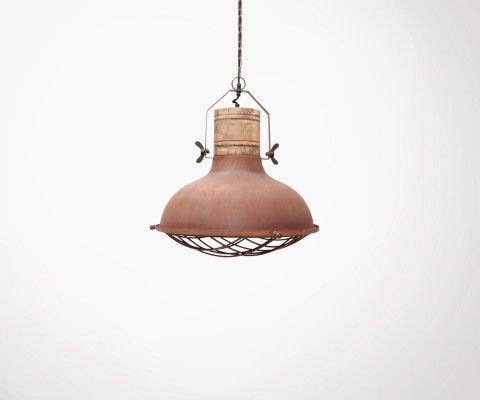 Metal and wood grid pendant lamp GRID - Label 51