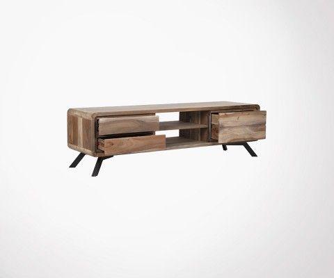 Petit meuble TV design bois brut HAVANA - Label 51