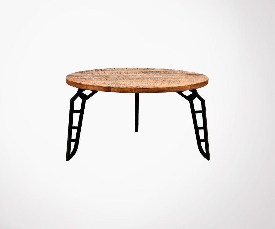 Table basse industrielle métal bois FLINTSTONE - Label 51