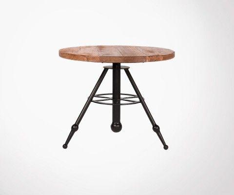 Table basse ronde bois métal SOLID