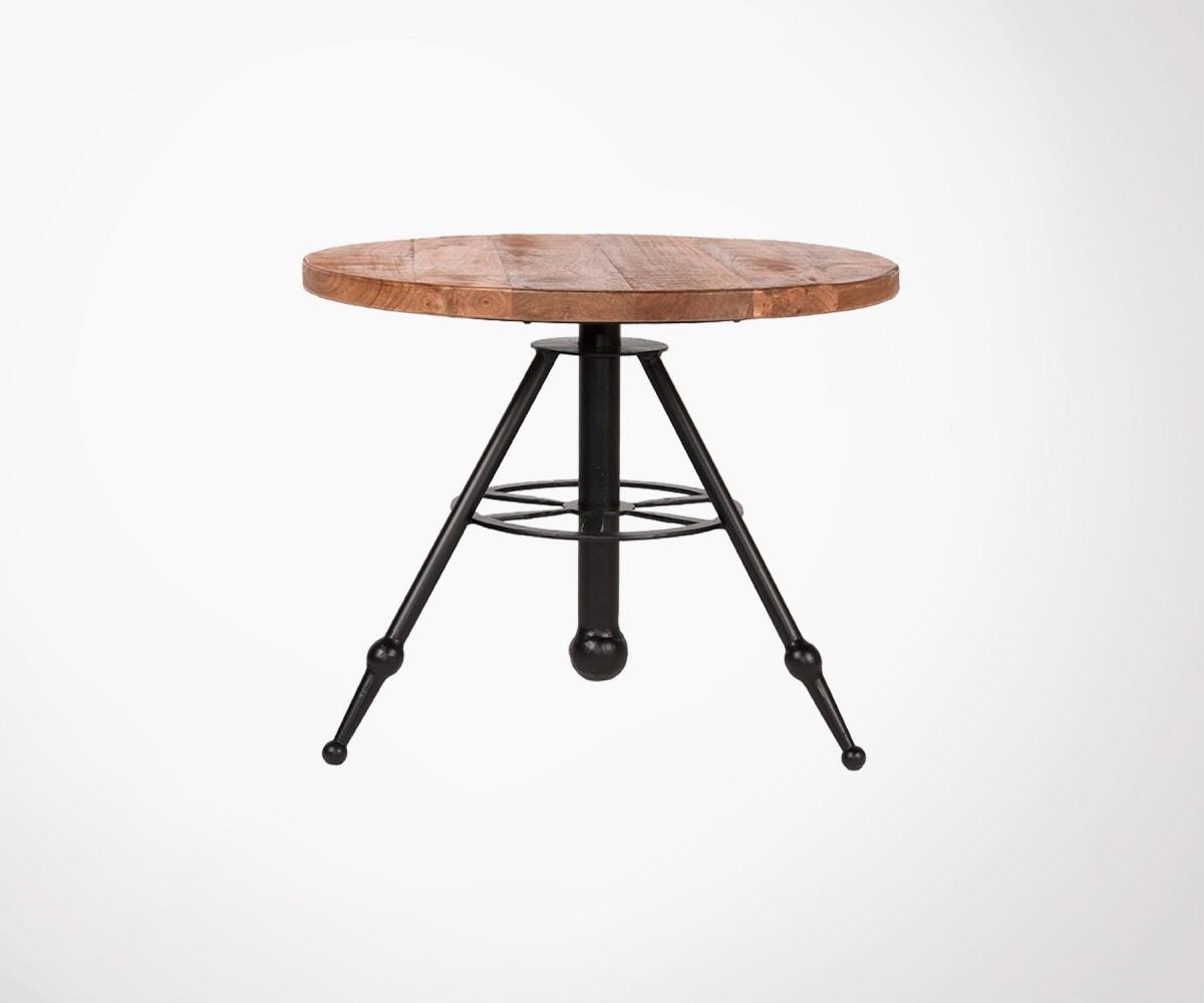 Table Basse Plateau Rond 60cm Bois De Manguier Pieds Metal Noir