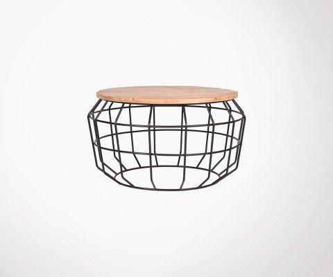 Table basse design métal et bois PIXEL XL