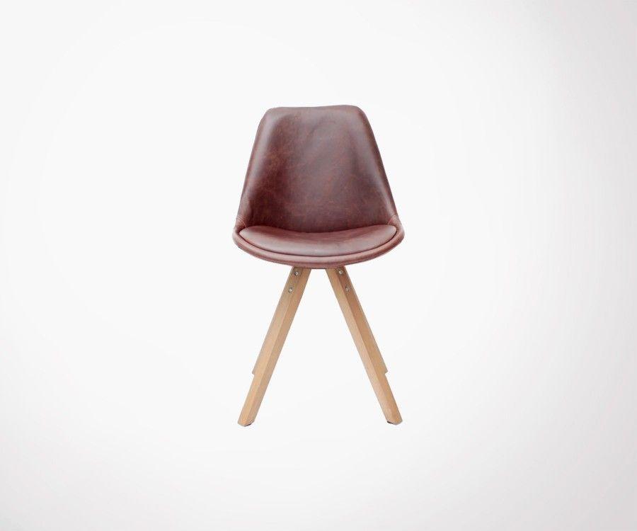 chaise scandinave simili cuir cognac bari label 51 - Chaise Scandinave Cuir