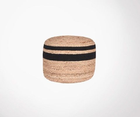 Jute natural and black pouf JUTTE - Label 51