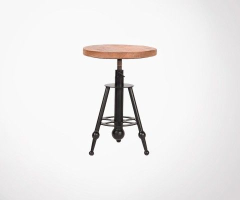 Tabouret design bois métal SOLID - Label 51