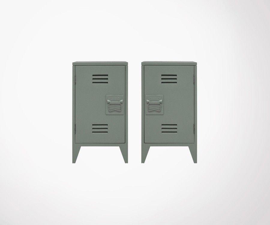 Set of 2 BRYSON Industrial Bedside - Light Grey
