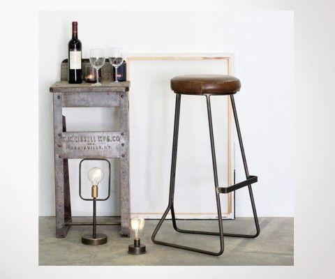 Tabouret bar rétro 80cm aspect cuir COLOMBUS - Red Cartel