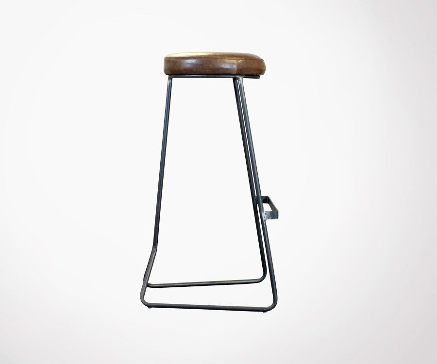 Tabouret bar rétro 80cm aspect cuir COLOMBUS - Red Cartel