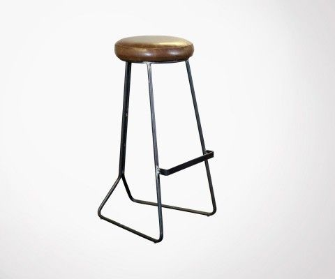 Retro bar stool 80cm leather look COLOMBUS - Red Cartel