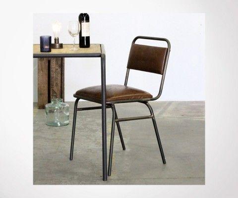 Chaise rétro aspect cuir WELLINGTON - Red Cartel