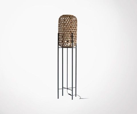 Natural rattan floor lamp with metal legs BALI - Red Cartel