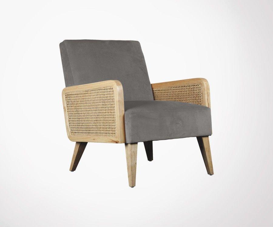 Design velvet armchair with cane AMOUR