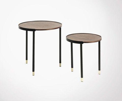 Tables gigognes noyer style vintage NOBELLE