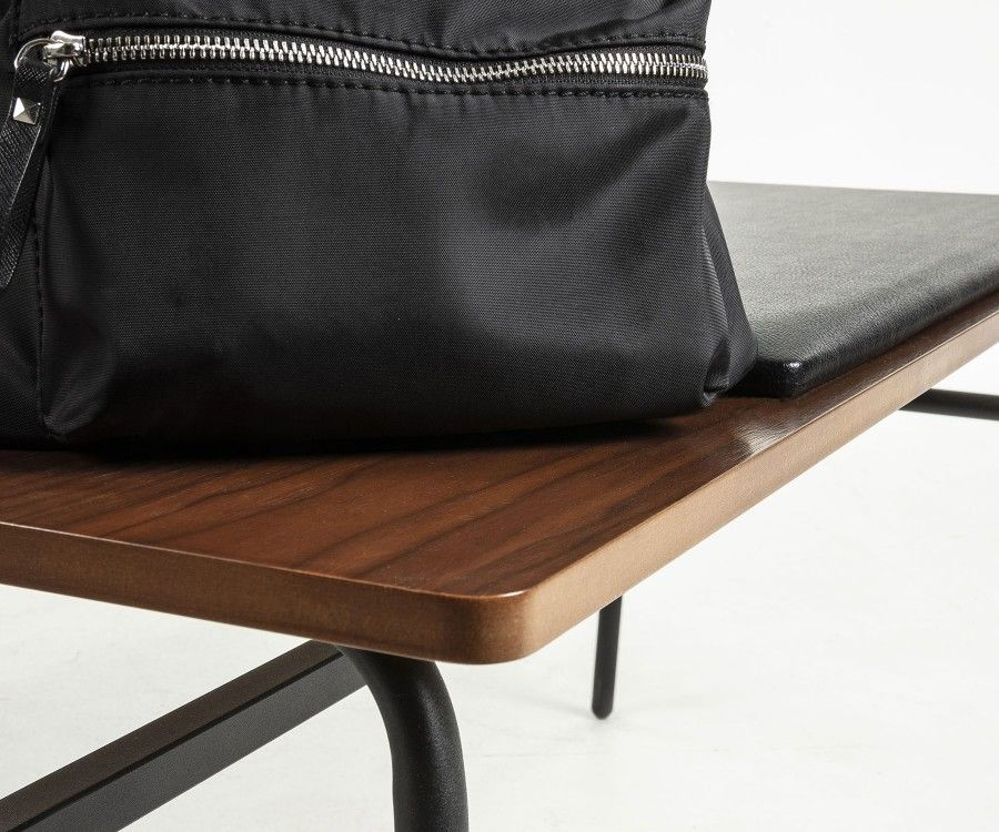Small 100cm Design Minimalist Bench Walnut Seat And Faux Black Leather
