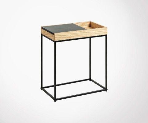 Bout de canapé design bois métal TALYS