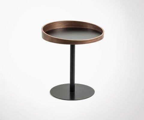 Vintage side table round walnut top RIKOA