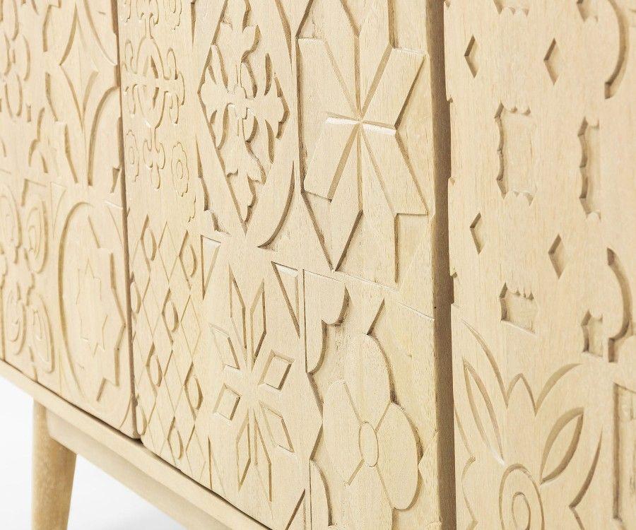 Buffet de salon bois massif portes sculptées ETHNIKA