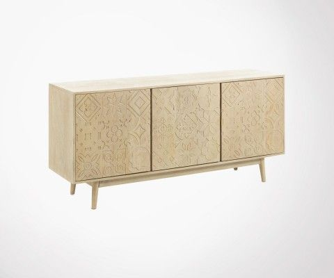 Solid wood living room sideboard with carved doors ETHNIKA
