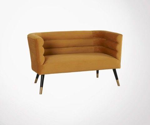 Petit canapé 2 places tissu velours style art déco RIVOLI
