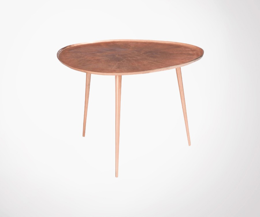 Rose gold metal 54cm round coffee table PINZE