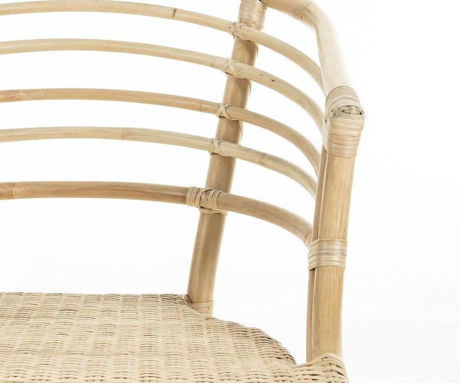 Chaise design rotin naturel avec accoudoirs CONI