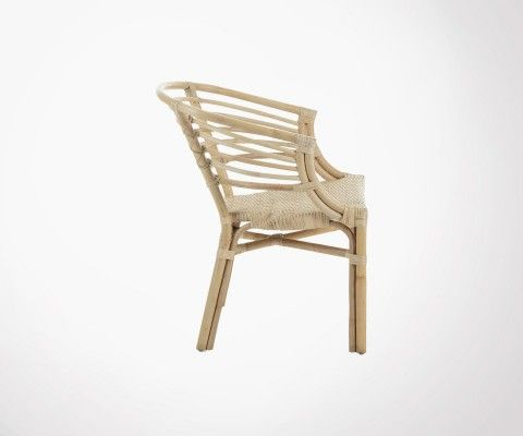 Chaise design rotin naturel avec accoudoirs CONI