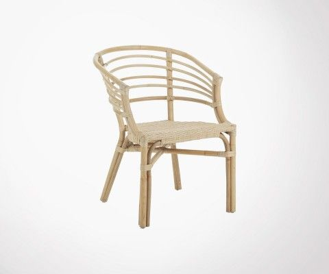 Natural rattan design chair with armrests CONI