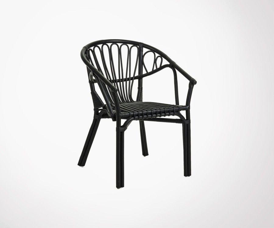 Chaise jardin rotin noir ou blanc empilable et solide - Prix réduit