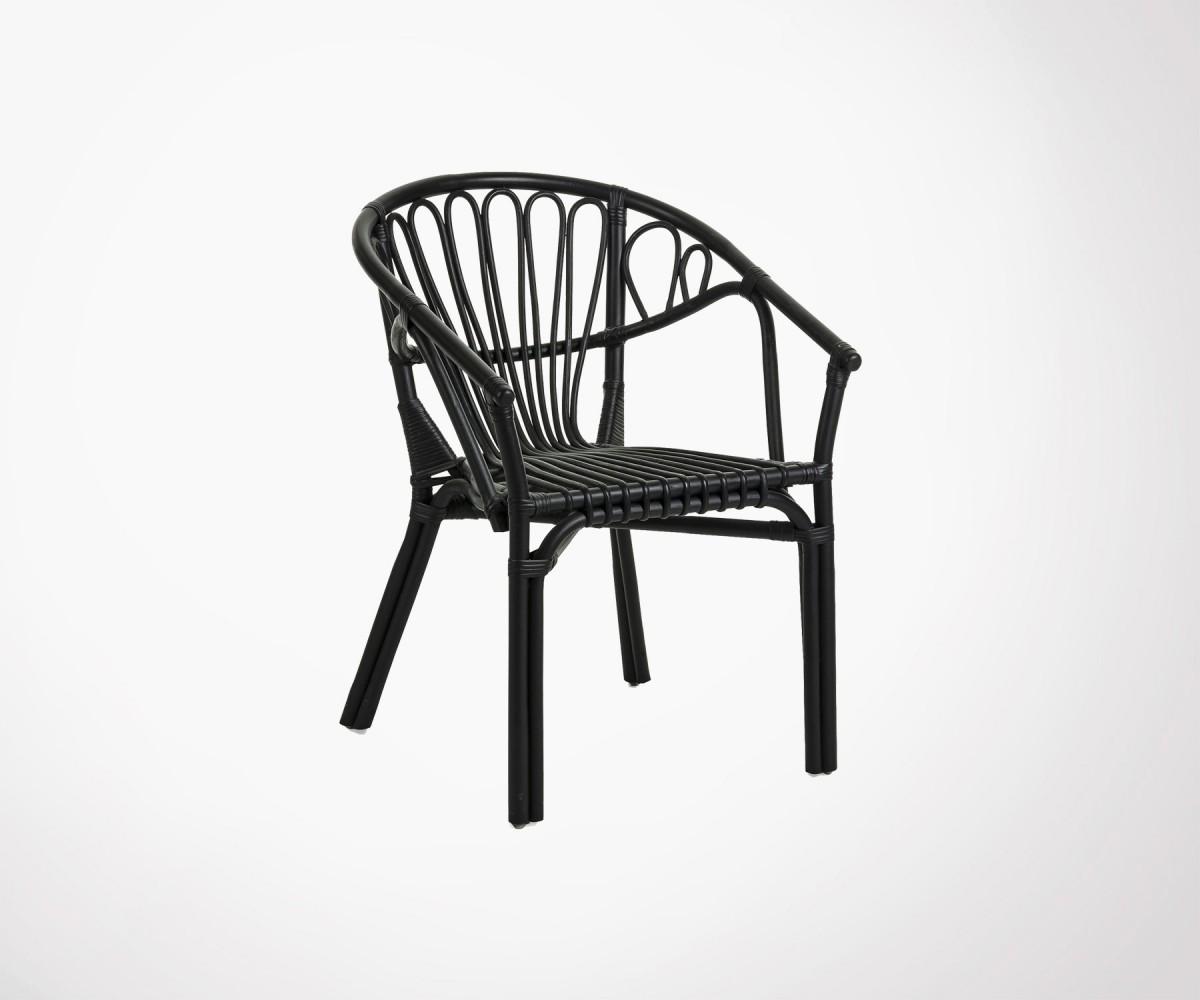 Chaise jardin rotin noir ou blanc empilable et solide - Prix ...