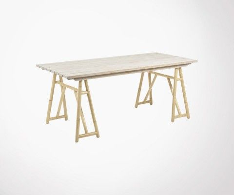 Bamboo solid pine dining table exotic style GROOT