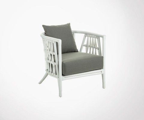 White rattan armchair with cushions KARDA