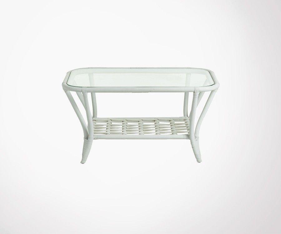 Table basse rotin blanc plateau verre KARDA