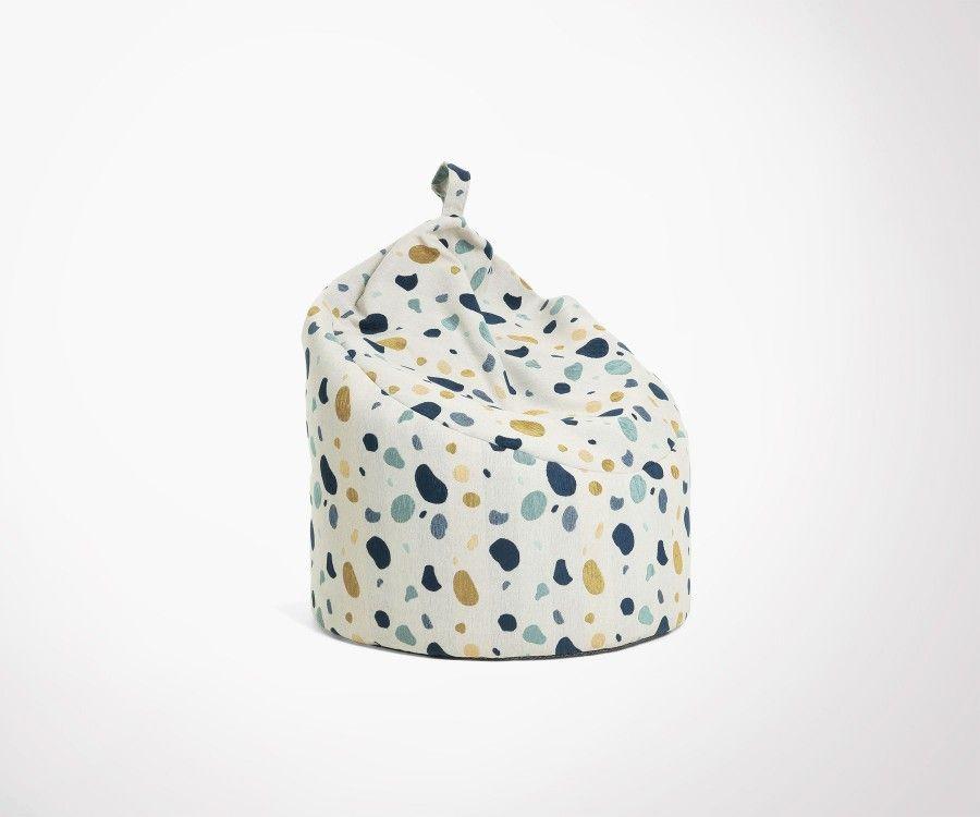 Grand pouf design BAMBINO tissu terrazzo