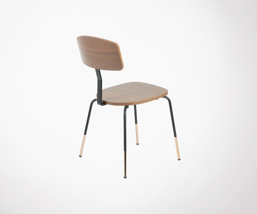 Retro Modern Dining Chair Walnut And Metal Best Design Deal