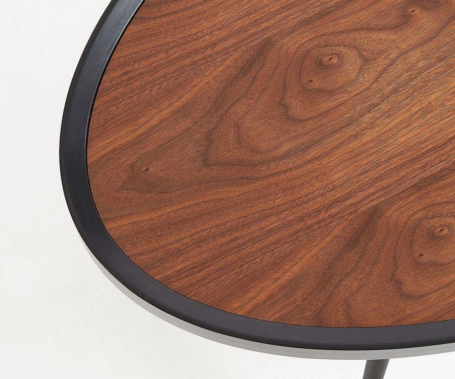 Grande table basse 107cm ovale bois plaqué noyer BRISSETTE