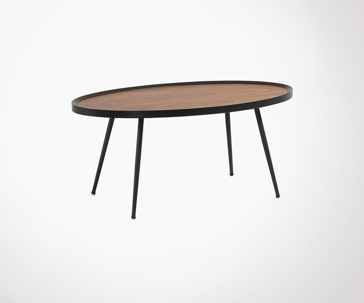 Grande Table Basse Scandinave Ovale Bois Noyer Pieds Metal Noir 102cm