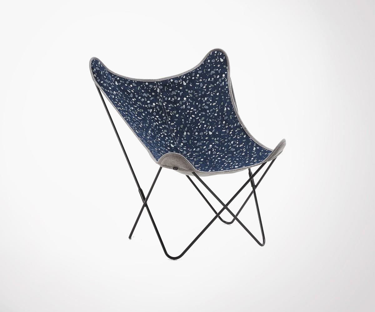 Fauteuil Papillon Design Tissu Bleu Foncé Inspiré Terrazzo