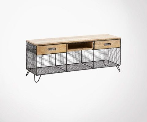 Mango wood TV stand with wire mesh metal PELVEN