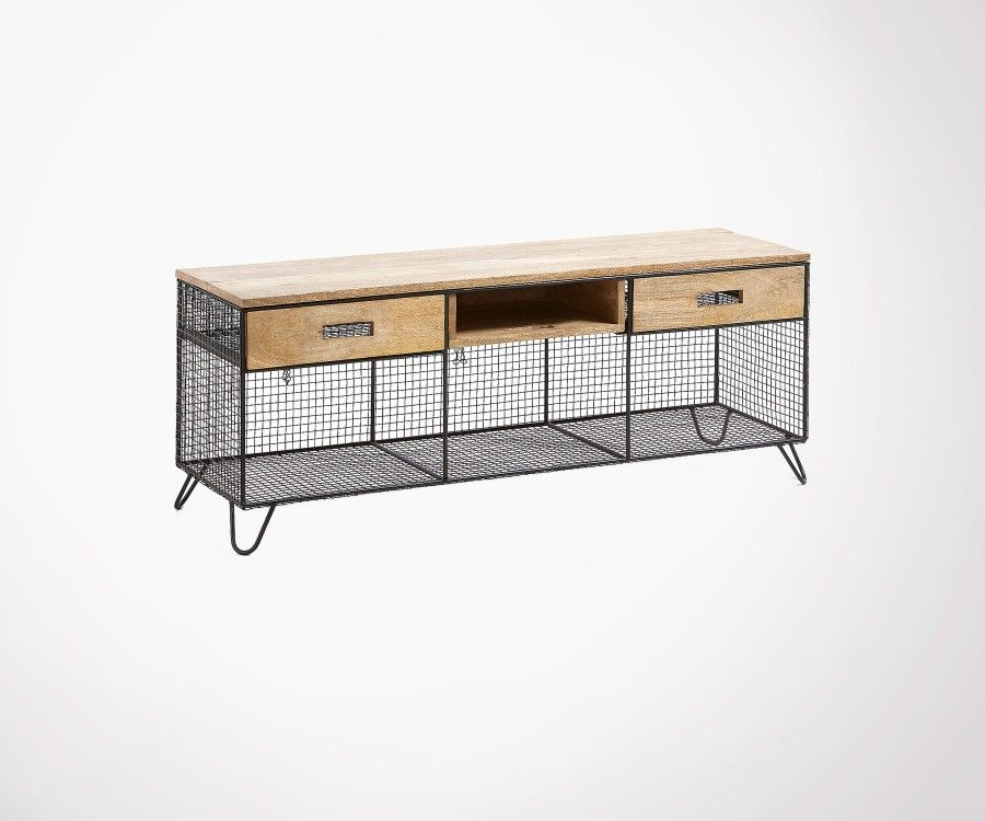 Mango Wood And Mesh Metal Tv Unit 120cm Industrial Style