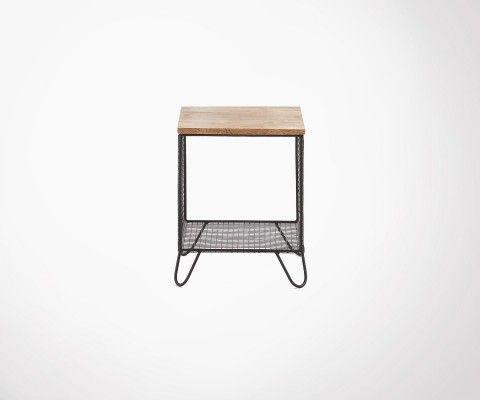 Table d'appoint bois manguier métal grillagé PELVEN