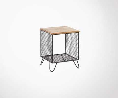 Mango wood and mesh metal side table PELVEN