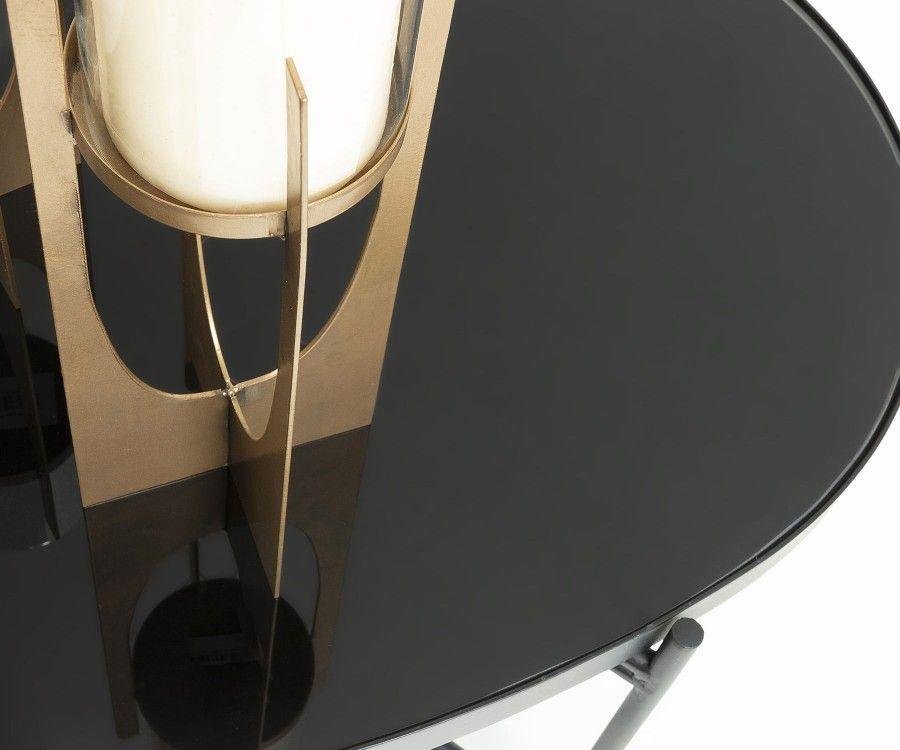 Grand table basse ovale métal noir et verre GINEO