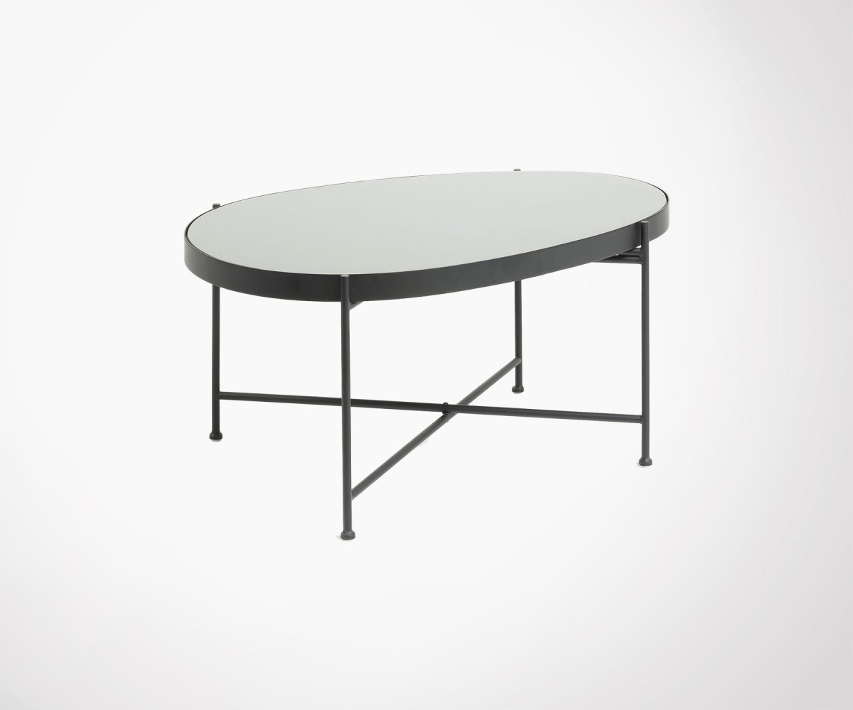 Grand Table Basse Ovale Metal Noir Et Verre Gineo